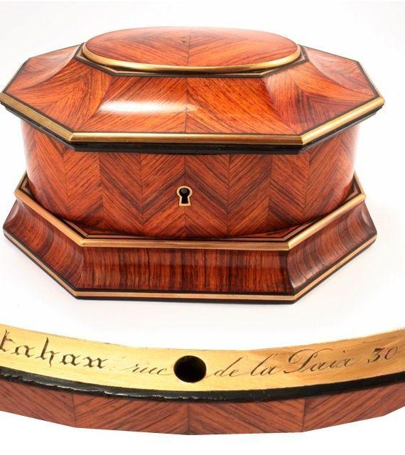 Kingwood Jewelry Box, signed TAHAN, Rare Octagonal Shape