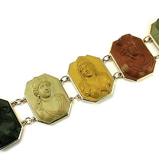 A Very Fine Antique Neoclassical Lava Cameo Bracelet, c. 1790 – 1810