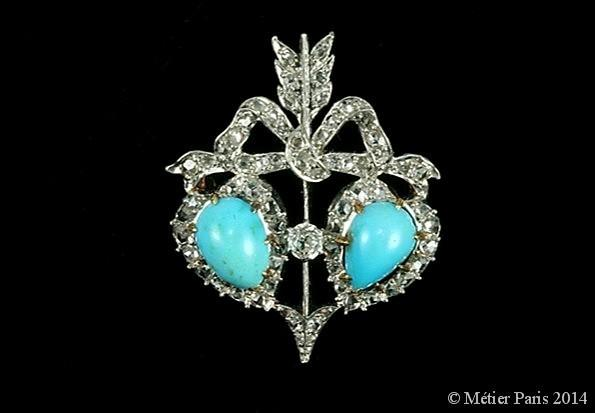 Belle Epoque Diamond and Turquoise Brooch, French, c.1890