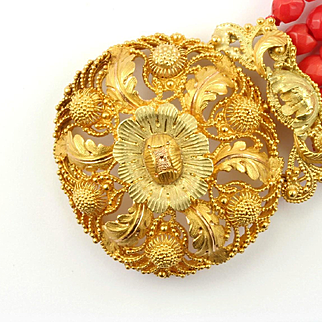 French Gold Cannetille & Coral Bracelet, c.1820s