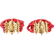 A Rare Pair of Georgian Coral Bracelets, French, 1820s