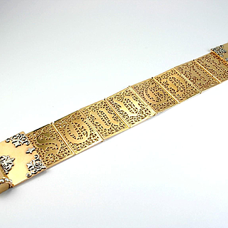 """A Very Fine Antique Gold & Platinum """"Souvenir"""" Bracelet, c. 1850s – 1870s"""