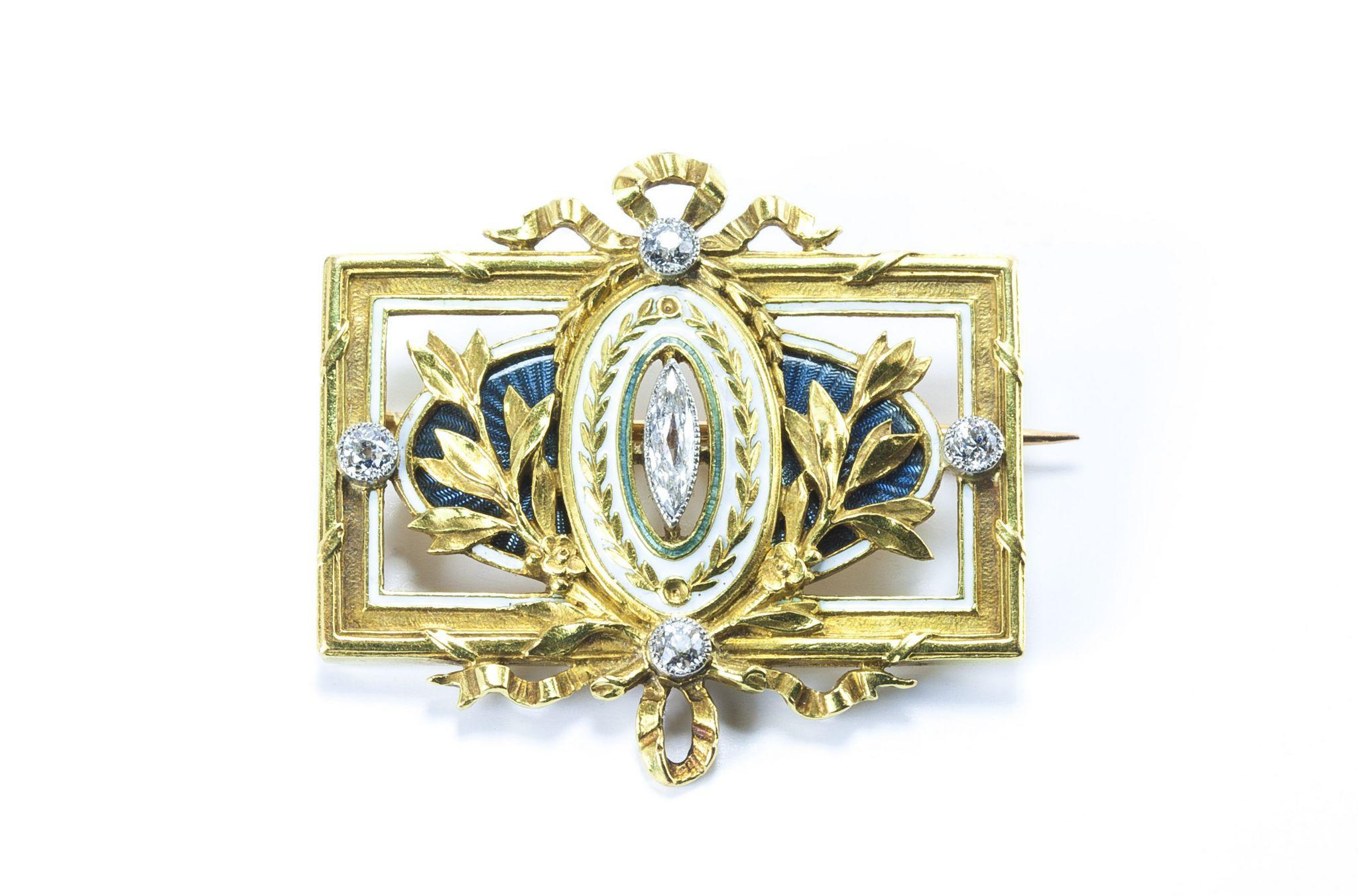 Belle Époque Diamond and Enamel Brooch, Signed Lucien Gautrait for Léon Gariod