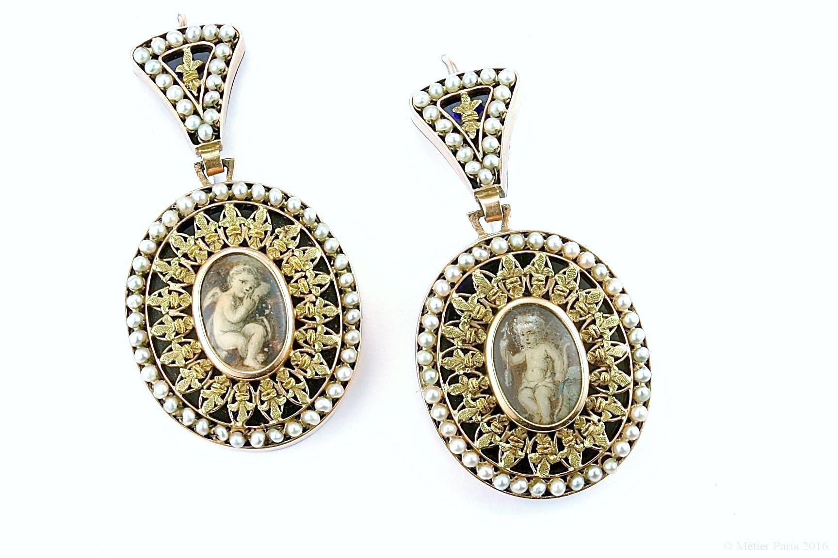 Rare Georgian Gold, Pearl and Enamel Earrings, c. 1775 - 1800