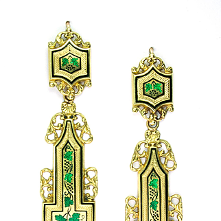 Exquisite Georgian Gold Enamel Day/Night Earrings, French c 1820s