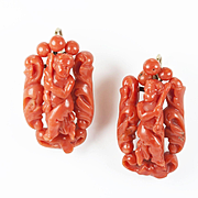 Charming Victorian Coral Cherub Earrings