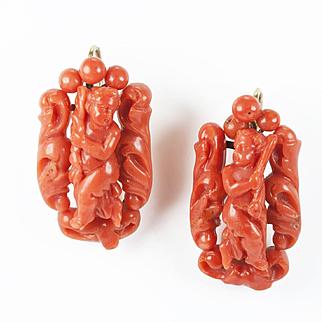 Charming Victorian Coral Cherub Earrings