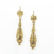 Fine Etruscan Revival Torpedo Earrings, French c. 1870