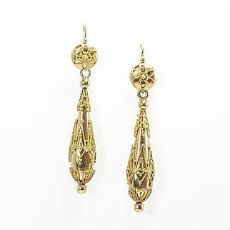 Fine Etruscan Revival Torpedo Earrings, French c. 1870