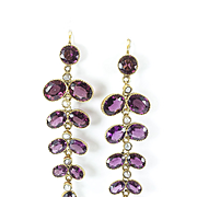 Sumptuous Rhodolite Garnet Earrings, France, late 1800s