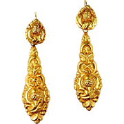 Rare Portuguese Day / Night Earrings, early to mid-1800s