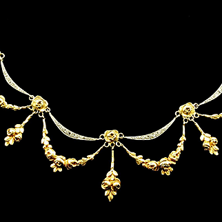 An Antique Rose Garland and Diamond Festoon Necklace, c. 1910