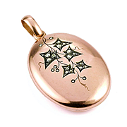 Very Fine Victorian Rose Gold Locket with Diamond 'Ivy' Motif, late 1800s