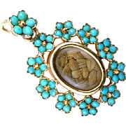 Unusual Turquoise 'Forget-Me-Not' Pendant with Locket back, English c. 1820 - 1840