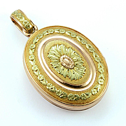 Antique French Locket in Pink and Green Gold, c. mid-1800s