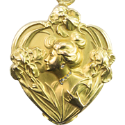 Lovely Art Nouveau Gold and Diamond Slide Locket, French c. 1900