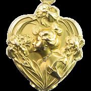 Lovely Art Nouveau Gold and Diamond Slide Locket, French c. 1900