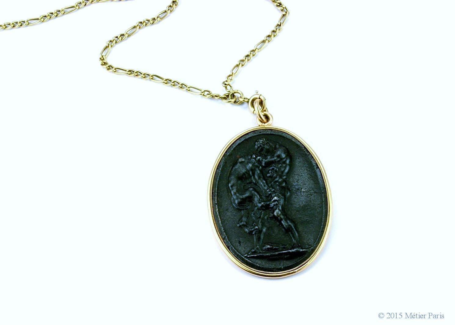 Berlin Iron Cameo Medallion / Pendant of Hercules, after Wedgwood, c. 1800 - 1815