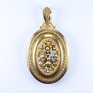 Gold and Platinum Louis XVI Style Locket, French 1870s