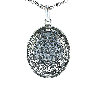 Large, Fine Renaissance Revival Silver Locket with Chain, 1870s