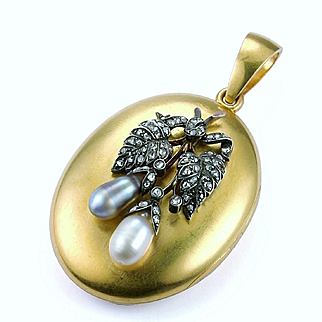 """A Victorian Pearl and Diamond """"Berry"""" Locket, French 1870s"""