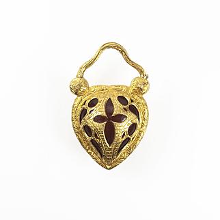 """Romantic Gold Heart """"Padlock"""" Locket, c. 1830s"""