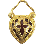 "Romantic Gold Heart ""Padlock"" Locket, c. 1830s"