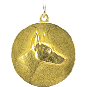Large Edwardian (?) Charm or Pendant of a Doberman, French
