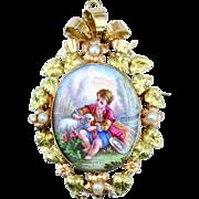 A Fine French Antique Enamel Pendant, Brooch c. 1860s