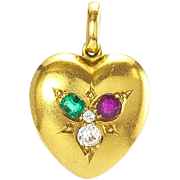 A Victorian Gem-set Heart Locket Charm, English, late 1800s