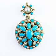 Antique French Provincial Pearl and Turquoise Locket, c. 1850