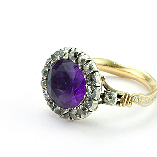 An Exceptional Georgian Amethyst, White Enamel Mourning Ring, English 1774