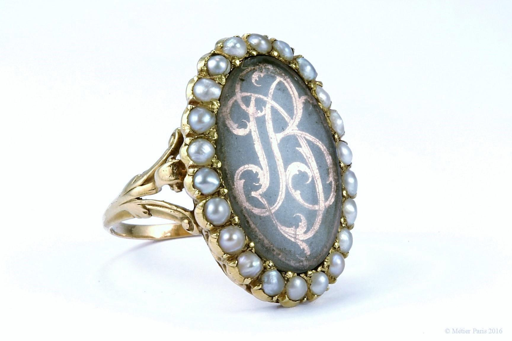Georgian Sentimental Ring with Gold Cipher Monogram, French c. 1760 - 1790
