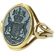 Fine Victorian Heliotrope Signet Ring, Adams Coat of Arms, late 19th c