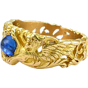 Winged Beauty: Gothic Revival Sapphire Ring, French, mid- to late-1800s