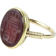 A Fine Nobleman's Carnelian Signet Ring, early to mid-19th century