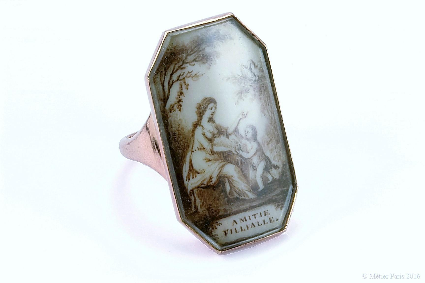 "Very Fine Georgian Sentimental Ring ""Amitie Fillialle"", c. 1790"