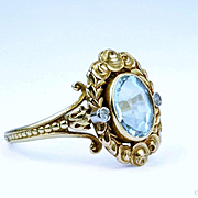 Fine Antique Belle Epoque Aquamarine Ring, France 1880 -1910