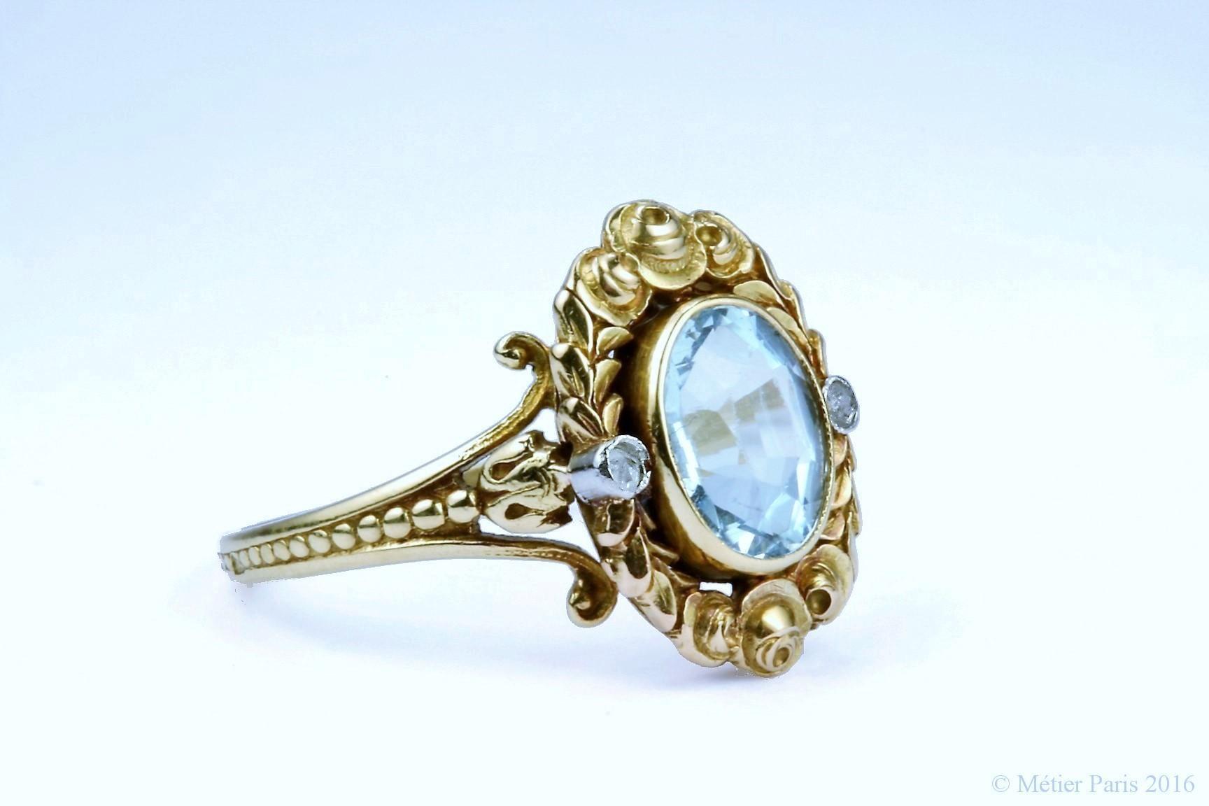 Fine Antique Belle Epoque Aquamarine Ring, France 1880 -1910