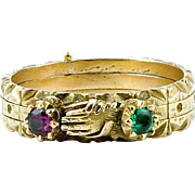 Rare Georgian Triple Hoop Ruby, Emerald Fede Ring, c. 1750 or before
