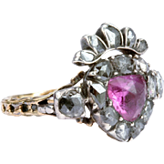 Rare Portuguese Diamond and Pink Topaz 'Crowned Heart' Ring, c 1750