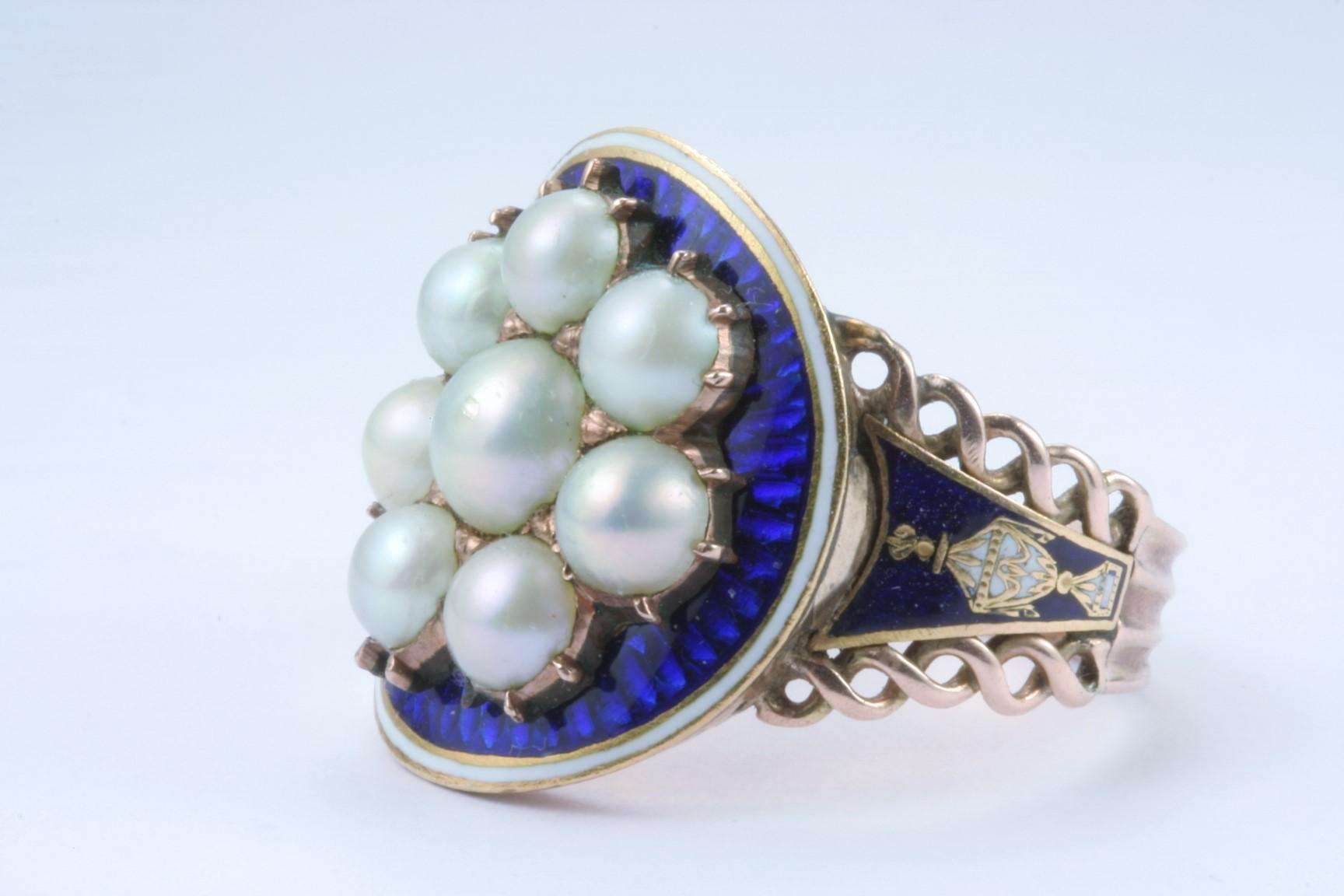 A Late 18th Century English Enamel and Natural Pearl Mourning Ring
