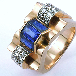 "Magnificent Retro Diamond & Sapphire ""Ribbon Bow"" Cocktail Ring, c. 1940"