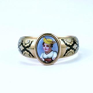 Late Georgian Swiss Enamel Locket Ring, c. 1830