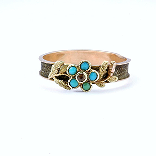 """Sentimental Georgian Turquoise """"Forget-Me-Not"""" Ring, c. 1820 - 1840"""