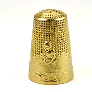 Rare 18k Gold French Art Nouveau Thimble, Fable of La Fontaine, HM Alfred Féau, circa 1900