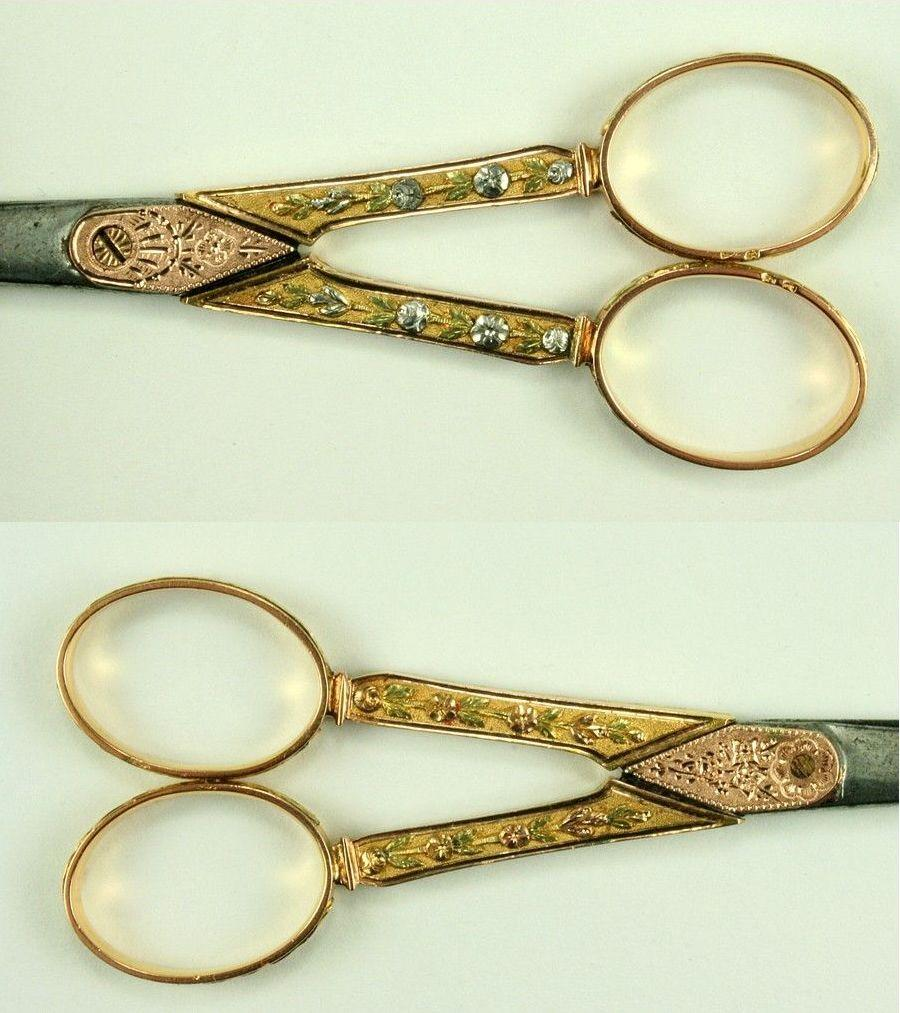 Antique Scissors in Four Colors of Gold, French c. 1840