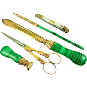 An Important French Desk Set in Malachite and Gold, early to mid-19th century