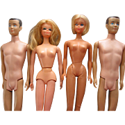4 Mattel Barbie & Ken Dolls