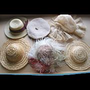 Lot of 6 Older Doll Hats